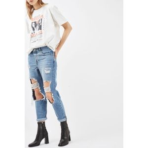 Topshop Moto Hayden Busted Ripped Boyfriend Jeans